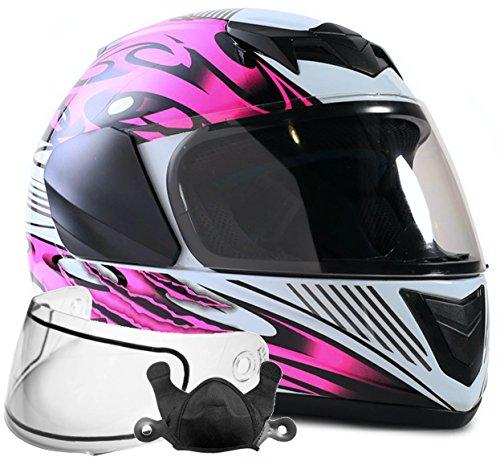 Typhoon Helmets Youth Kids Full Face Snowmobile Helmet DOT Dual Lens Snow Boys Girls - Pink  Medium