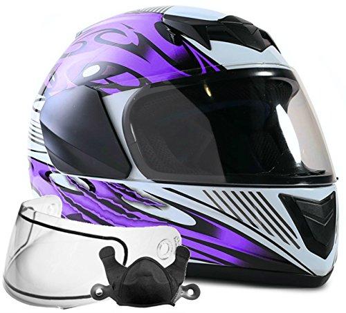 Typhoon Helmets Youth Kids Full Face Snowmobile Helmet DOT Dual Lens Snow Boys Girls -- Purple  XL