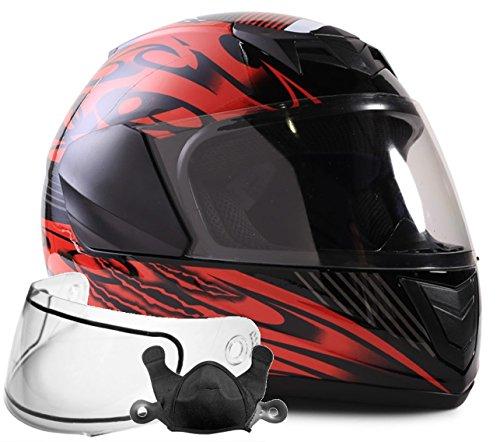 Typhoon Helmets Youth Kids Full Face Snowmobile Helmet DOT Dual Lens Snow Boys Girls - Red  Medium