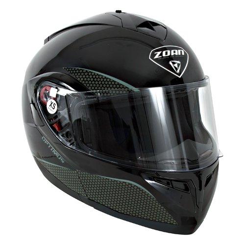Zoan Optimus Snow Solid Gloss Black Electric Lens Modular Full Face Snowmobile Helmet X-Small