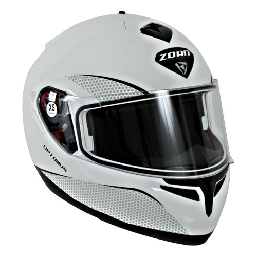 Zoan Optimus Snow Solid Gloss White Electric Lens Modular Full Face Snowmobile Helmet Small