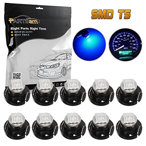 Partsam T5 Neo Wedge LED Light Bulb for Gauge Cluster Instrument Panel Dashboard Indicator Lamp-Blue 10PCS