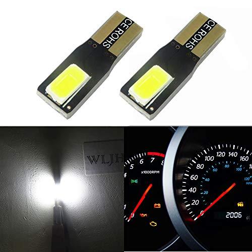 WLJH 2pcs T5 Wedge LED Bulbs 2-SMD 5630 100 Lumens 6000K White 286 2721 Automotive Car Lights Bulb Dashboards Indicator Light Speedometer Gauge Cluster Lamp Dash Light