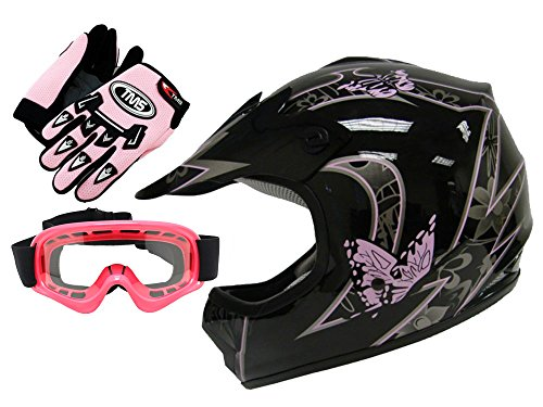 TMS Youth Kids Pink Butterfly Dirtbike Atv Motocross Helmet Mx Wgogglesgloves Small