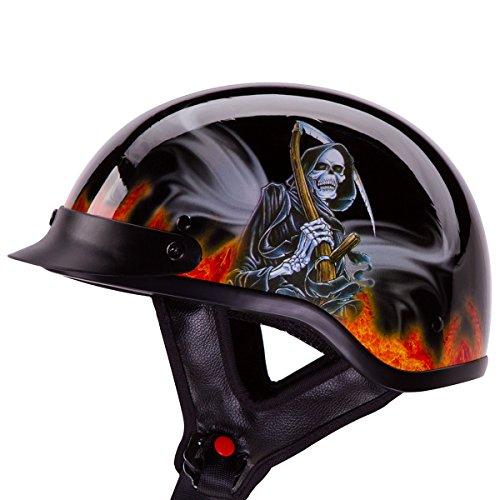 IV2 FLAME REAPER Gloss Black Chopper Cruiser Beanie Half Helmet Motorcycle Helmet DOT - Large