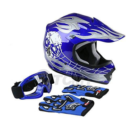 TCMT Dot Youth Kids Motocross Offroad Street Helmet Blue Skull Motorcycle Helmet Silver Dirt Bike HelmetGogglesgloves L