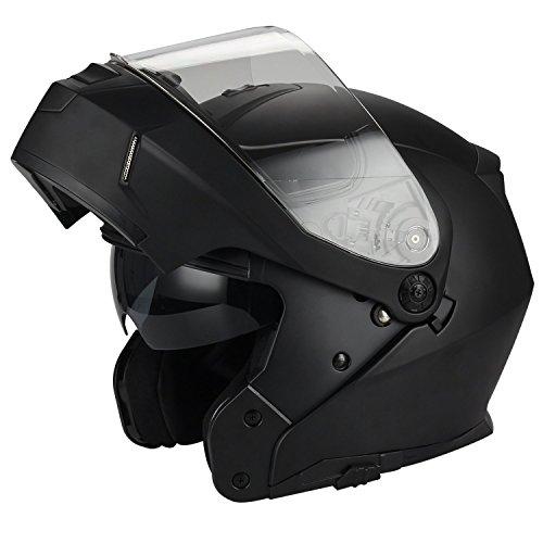 Traiangle Motorcycle Helmets Modular Dual Visor Flip Up Large Matte Black