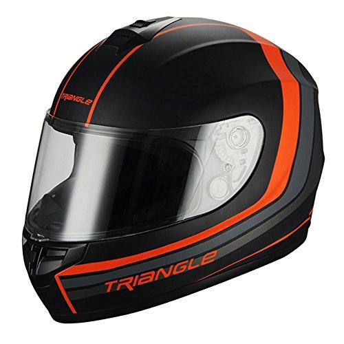 Triangle Full Face Matte BlackOrange Street Bike Motorcycle Helmet DOT Large