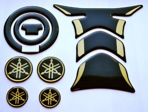 Yamaha YZF R1 R6 FZ1 FZ8 FZ6 FJR1300 Black Glossy  gold Tank Protector Pad gas cap cover sticker  4 logo trim