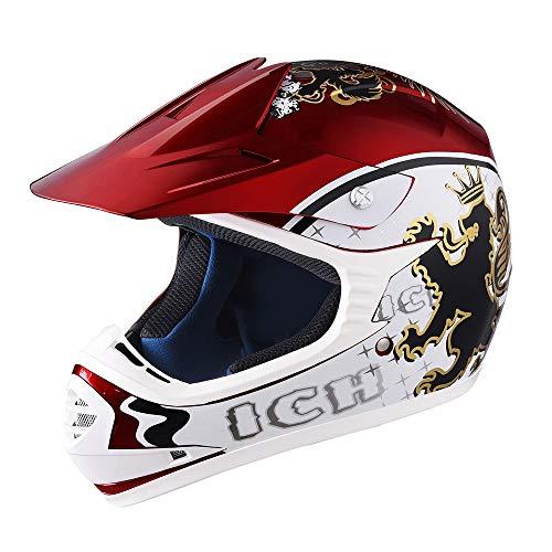 AHR DOT Youth Motocross Helmet Full Face Offroad Dirt Bike Helmet Motorcycle ATV Mountain Bike Sports XL