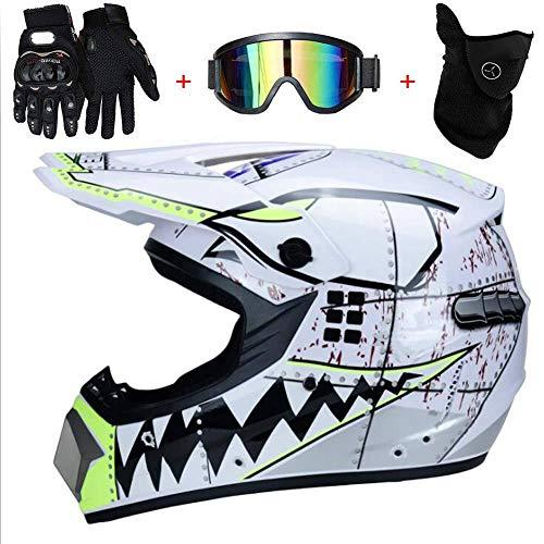 WLPAK Motocross DOT Certification Youth Motocross Helmet Off-Road ATV Motorcycle MX Children Motocross Mx Helmet Youth ATV Motocross Helmet Goggles Sports Gloves XL