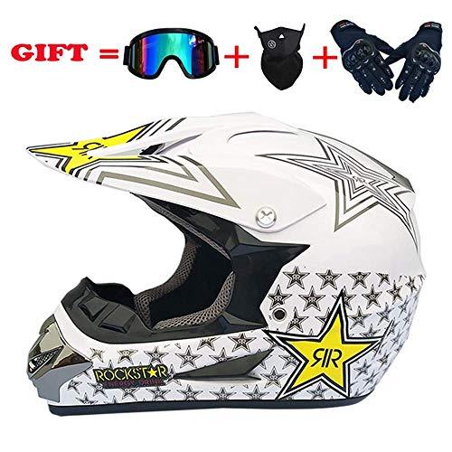 WLPAK Youth Motocross Helmet Off-Road ATV Motorcycle MX Children Motocross Mx Helmet Youth ATV Motocross Helmet Goggles Sports Gloves Motocross DOT Certification C5 S