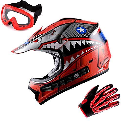 WOW Updated Youth Motocross Helmet Kids Motorcycle Bike Helmet Shark Red  Goggles  Skeleton Red Glove Bundle