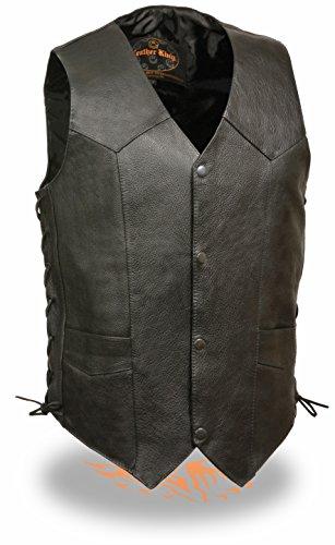 Leather King Mens Classic Side Lace Biker Vest Black Size 46