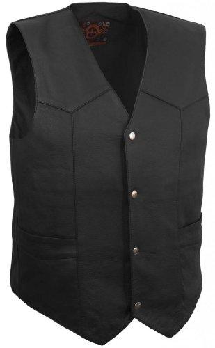 True Element Mens Classic Leather Motorcycle Vest Black Size L