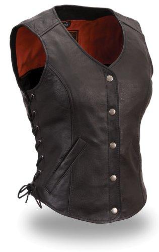 Womens Leather Side Lace Classic Vest Black Size 2XL
