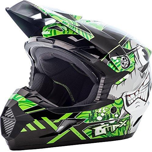 GMAX unisex-adult full-face-helmet-style Helmet Mx46 Hooper BlackGreen Youth Large