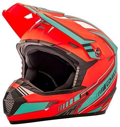 GMAX unisex-adult full-face-helmet-style Helmet Mx46 Uncle  Flat OrangeTeal Small
