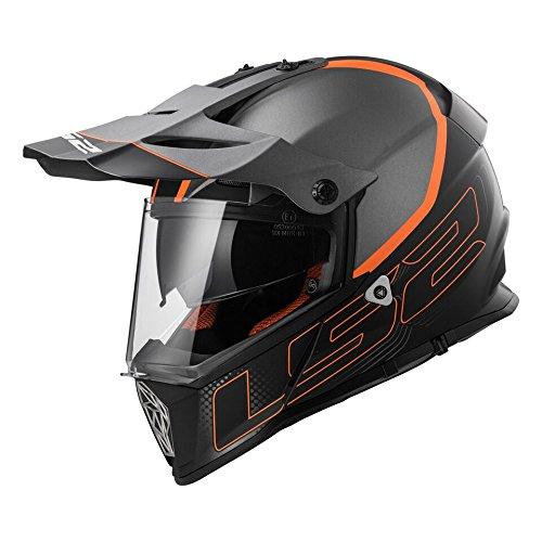 LS2 Helmets Element Unisex-Adult Full-Face-Helmet-Style Pioneer Helmet GrayOrange Large