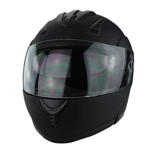 DOT Full Face Matte Black Modular Motorcycle Helmet With Flip-Up Visor Vented Ports