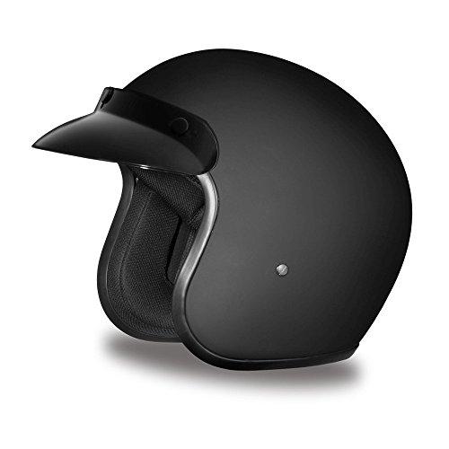 Daytona Helmets Motorcycle Open Face Helmet Cruiser- Dull Black 100 DOT Approved