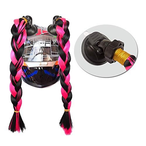 Hai Hong Helmet Hair Helmet Pigtails Brainds Helmet Ponytail with Suction Cup for Motorcycle Bike Black to Red 14inch