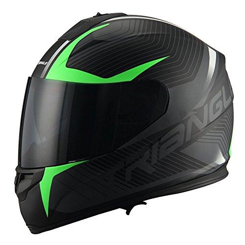 Triangle Full Face Dual Visor Matte Black Street Bike Motorcycle Helmet Matte Green Medium