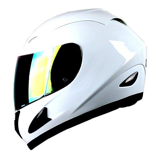 WOW Motorcycle Full Face Helmet Street Bike Glossy White