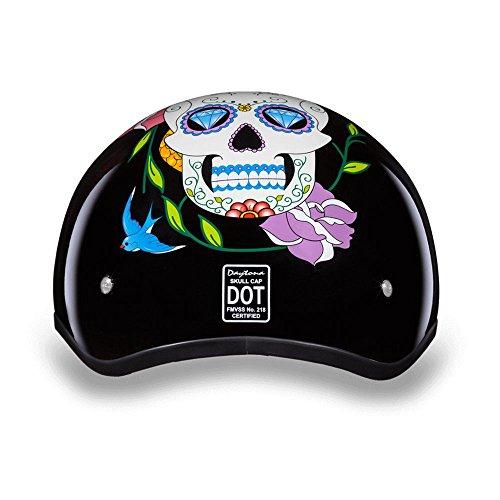 Daytona Helmets Motorcycle Half Helmet Skull Cap- Diamond Skull 100 DOT Approved