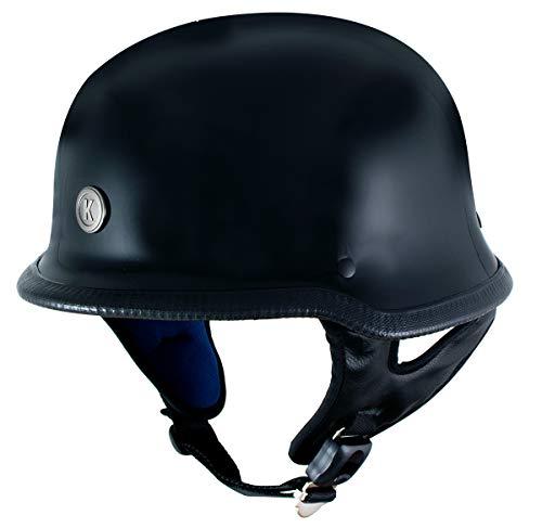 Klutch K-10 Das Hammer Gloss Black Half Face Motorcycle German Style Helmet - 2X-Large