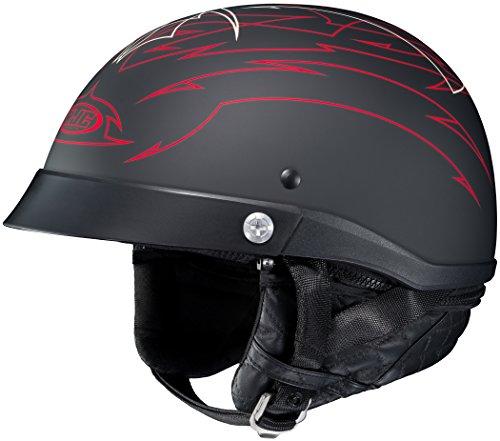 HJC Helmets Unisex-Adult Half-Size-Helmet-Style CL-Ironroad Show Boat MC-1F Motorcycle Helmet Matte BlackRed X-Large
