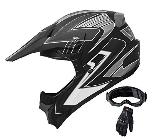 Adult Motocross ATV Helmet Dirt Bike OffRoad Mountain Bike Helmet Goggles Gloves Combo Matt Black 189 XL