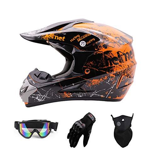 Sanqing Motocross HelmetFull Face Off Road Motocross Quad Crash Helmet ECE Downhill Dirt Bike MX ATV Adult Motorbike Helmet Gloves Goggles Mask 4 Piece SetOrangeL