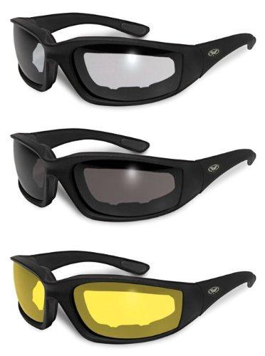 3 Pairs Kickback Foam Padded Motorcycle Sunglasses