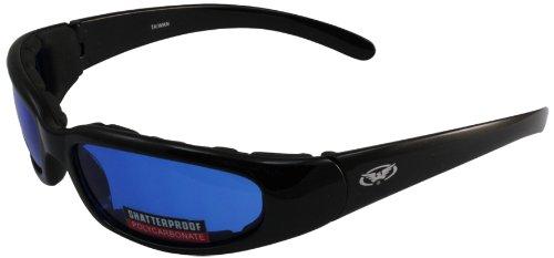 Global Vision Chicago Padded Riding Glasses Black FrameBlue Lens