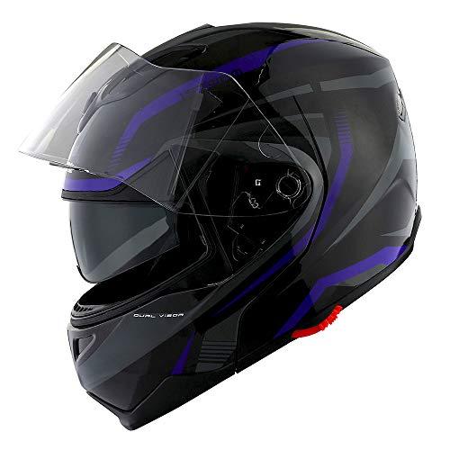 1Storm Motorcycle Street Bike ModularFlip up Dual VisorSun Shield Full Face Helmet Storm Tron Purple