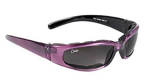 Pacific Coast Chix Rally Grey GradientPurple Padded Motorcycle Glasses