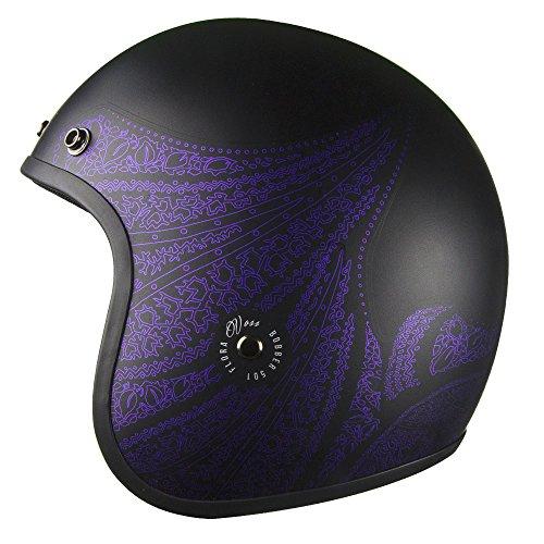 Voss 501 Bobber Open Face Retro womens motorcycle helmet Low Profile Lightweight with metal quick release - Matte BlackPurple Aurora - S