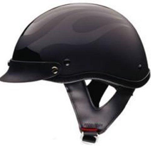 DOT FLAT BLACK FLAME SHORTY MOTORCYCLE HELMET-S