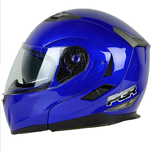 PGR F99 Modular Flip Up Dual Visor Full Face with Sun Shield DOT APPROVED Motorcycle Touring IS-MAX Helmet Small Yahama Blue