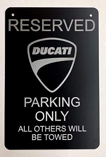 Diamond Etched Ducati Logo Parking Sign on 12 X 18 Aluminum Matte Black
