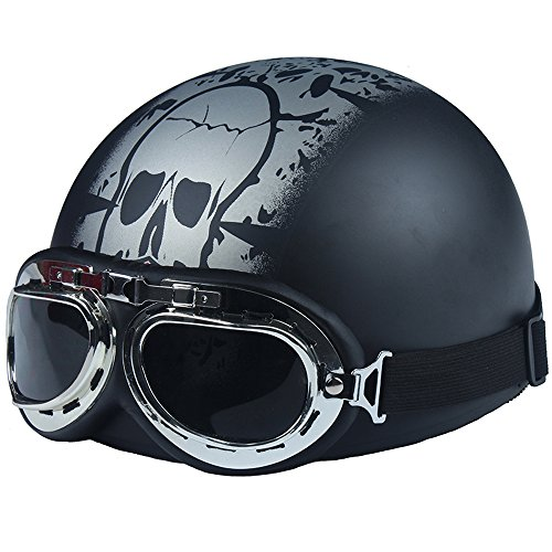 Fatmingo German Style Half Helmet with Goggles Motorcycle Biker Cruiser Scooter Touring Harley Helmet Black Skull