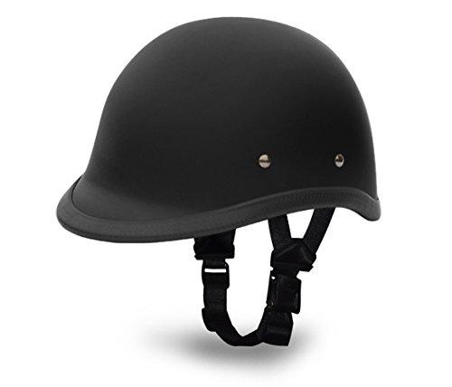 Hawk Premium-Pack Novelty Polo Style Half Shell Motorcycle Helmet By Daytona Helmets DULL BLACK Not DOT Low Profile Skull Cap FREE Modo Riding Glasses Head Wrap Carry Bag Small