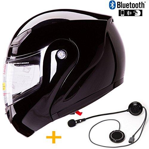 Bluetooth Combo IV2 Modular Flip-Up Motorcycle Helmet DOT with Simple Talk Bluetooth Unit Pre-installed XL Black Gloss
