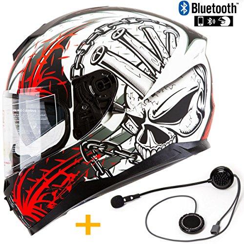 Bluetooth Pre-Installed Motorcycle Helmet IV2 Falcon Series High Performance Dual Visor Full Face Motorcycle Street Bike Helmet DOT Bluetooth Combo Speed Demon Red XL