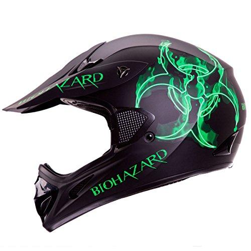 IV2 BIOHAZARD Matte Black High Performance Motocross ATV Dirt Bike Helmet DOT M