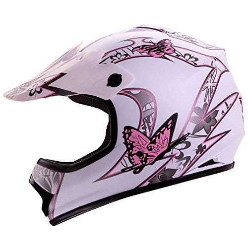 IV2 Youth  Kid Size White Pink Butterfly Motorsports Motocross ATV UTV Dirt Bike Helmet DOT XL