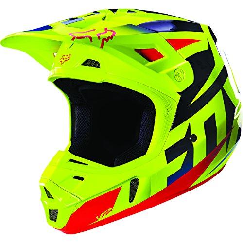 Fox Racing Race Mens V2 Motocross Motorcycle Helmet - BlueYellow  Large
