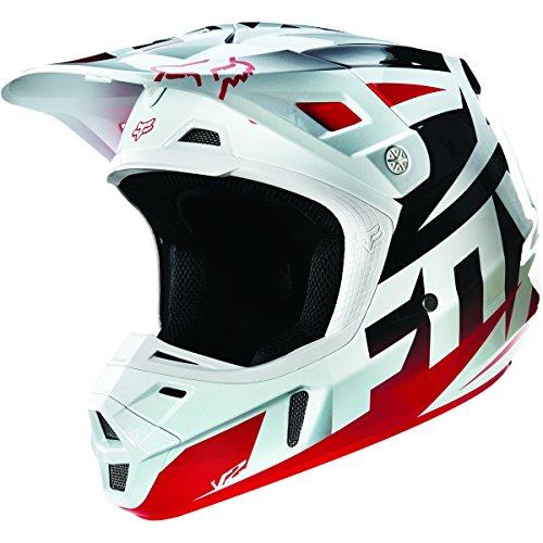Fox Racing Race Mens V2 Motocross Motorcycle Helmet - RedWhite  2X-Large