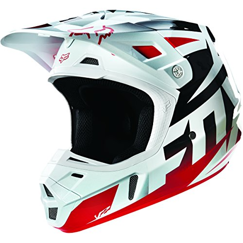 Fox Racing Race Mens V2 Motocross Motorcycle Helmet - RedWhite  X-Large